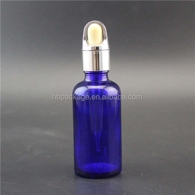 HBB15 deep blue color 50ml round essential oil glass dropper bottle with basket cap