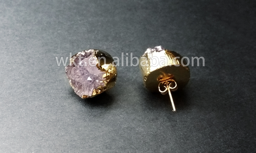 faux druzy lolaclaire stud products jewelry earrings gold graphite