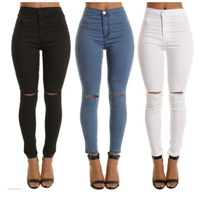 Women Leggings Holes Pencil Fashion Female Denim Strech Skinny Ripped Pants High Waist Jeans Pants