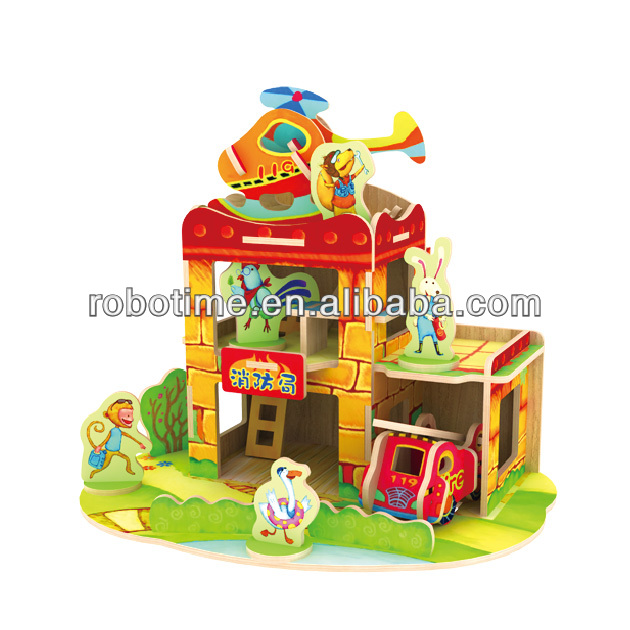 Wooden Puzzle house model toy for boys