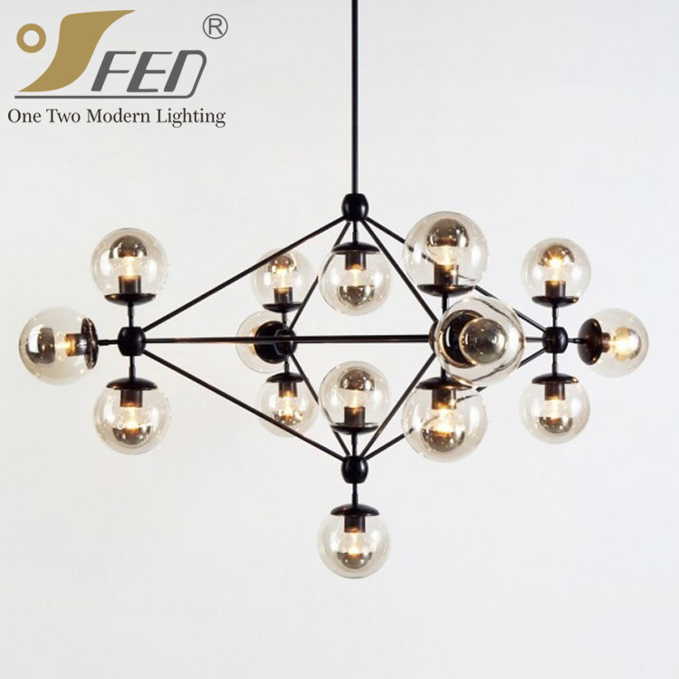 Modo Chandelier Light Globes Black Fixture Light Smoke Glass Pendant ...