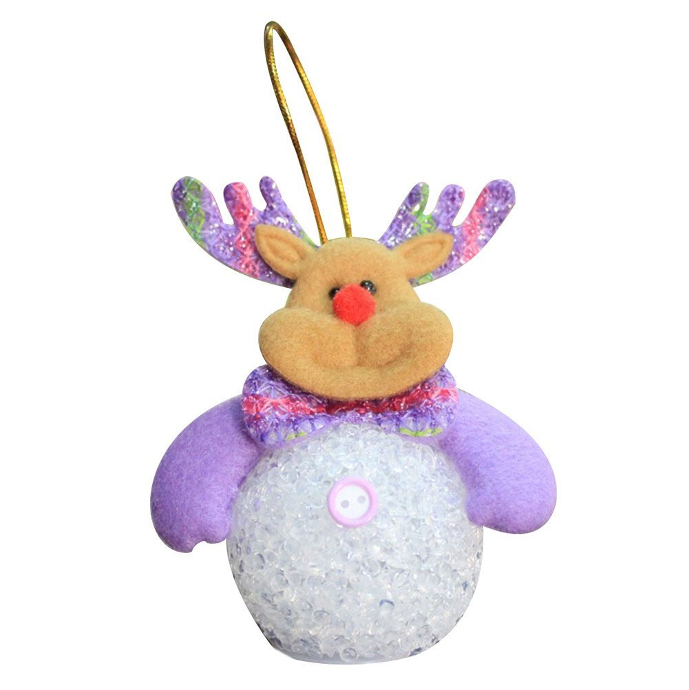 Foerteng Colorful Christmas Reindeer Santa Claus LED String Light with Battery Snowman Christmas Night Light Christmas Decoration (Reindeer)