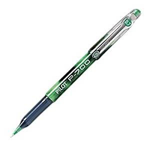 Pilot P700 Fine Gel Rollerball Pen - Fine Pen Point Type - 0.7 mm Pen Point Size - Green Ink - Green Barrel - 12 / Dozen