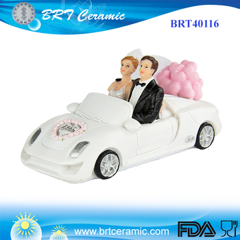 Couple In A Car Funny Wedding Doll Cake Topper