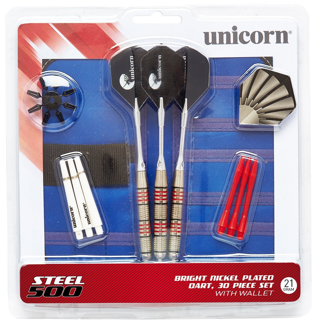 Unicorn Steel 500 30-Piece Dart Set Includes Wallet Carrying Case Designed for Use with Bristle Dartboards