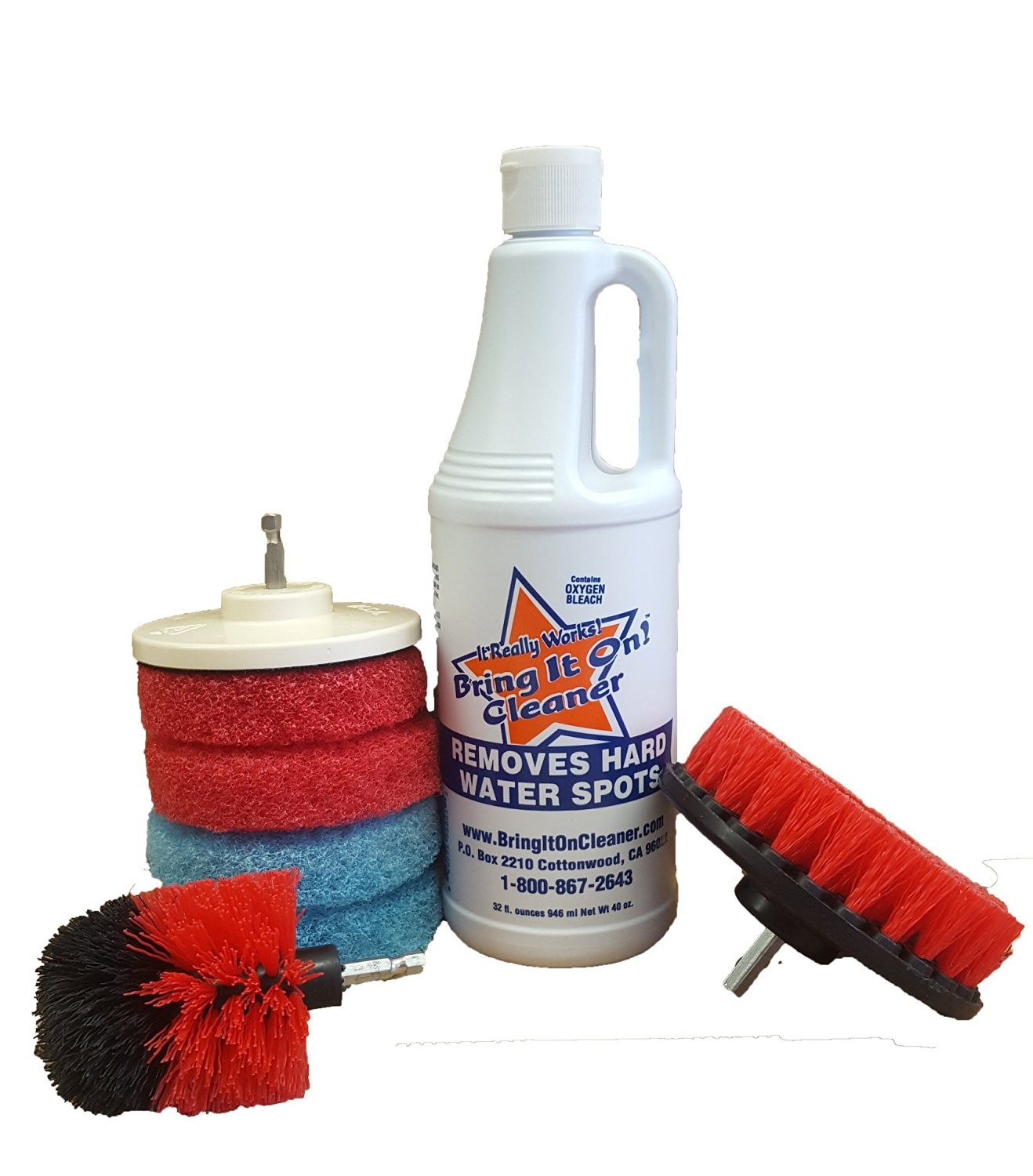 Water Spot Remover, Plus Drill Brushes and Pads, Home Deep Cleaning Kit for Kitchen and Bathroom, Clean Tile and Grout, Cleaning Brush For Drill, Drill Scrub Brush, Drill Brush Attachment