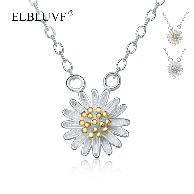 ELBLUVF 925 <strong>Silver</strong> 24K Gold Fancy Daisy Pendant Flower Necklace jewelry Girl / Lady / Women's Jewelry