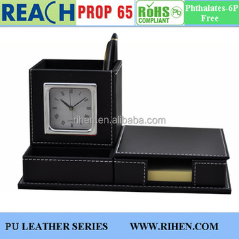 Newest PU Leather Desk Pen Holders With Clock With Memo Pad Holder