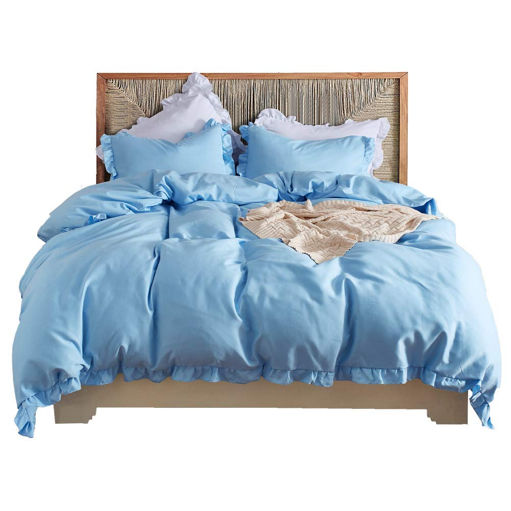 HOTNIU 3 Piece Ruffled Duvet Cover Set - All-Season Soft Bedspread Comforter Covers - Bedroom Decor Breathable Luxurious Bedding Sets with 1 pc Duvet Cover + 2 pcs Pillow Cover (Queen, Blue)