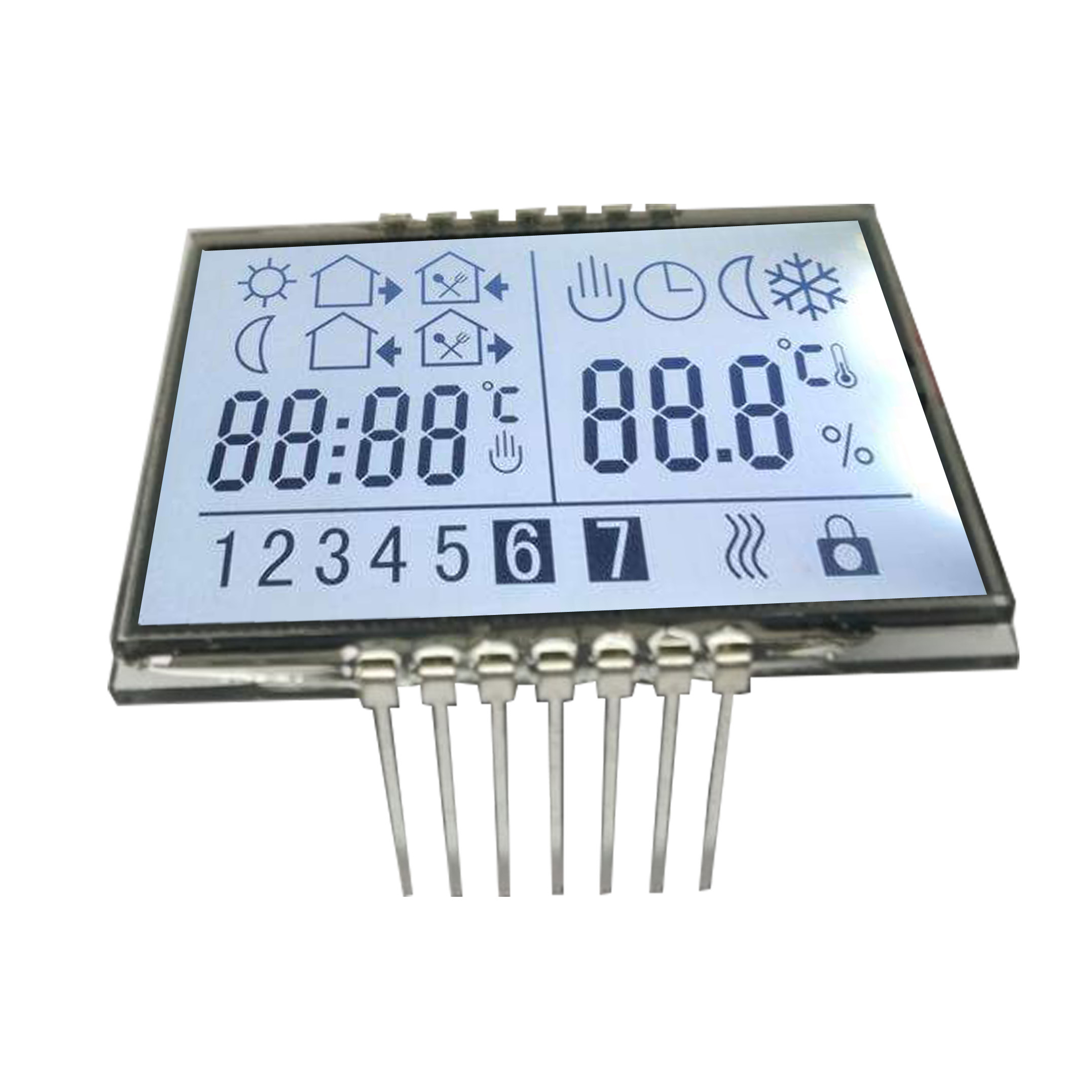 Customized 14 pin 7 segment display 2 digit lcd screen 1 inch transflective lcd display