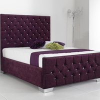 Europe made high silver headboard fabric bed