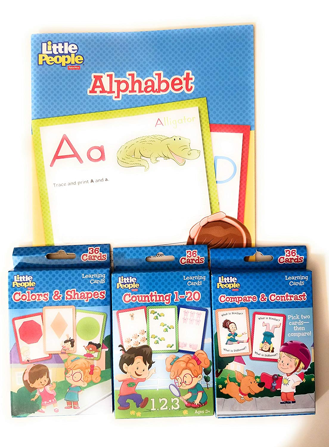 Back to School Student Toddler Pre-School Elementary School Classroom Teacher Student Pre-k Kindergarten 1st Grade Workbooks Alphabet Counting Compare Colors Little People Bonus 2pack of Crayons