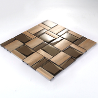 USA style 3D Aluminium Metal mixed Crystal Glass Mosaic for Modern Wall Decoration