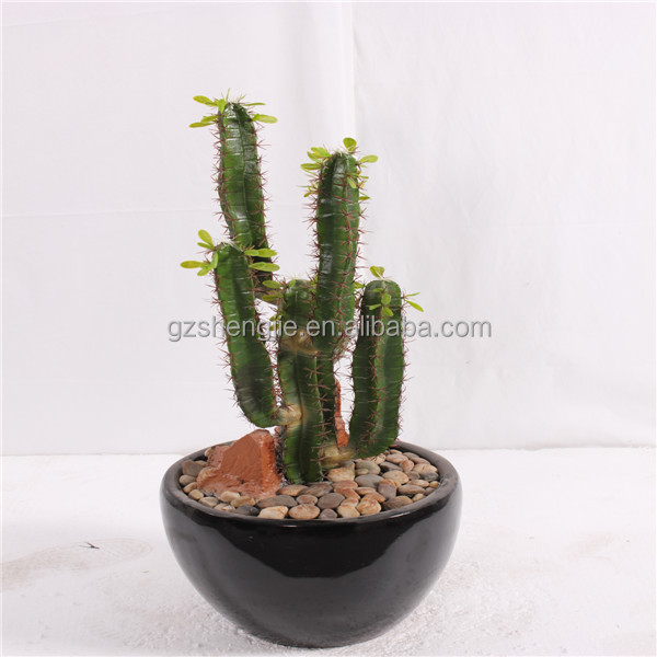 Sjzc06 Made In China 5 Hands Artificial Cactus Plant Lucky With A Pot