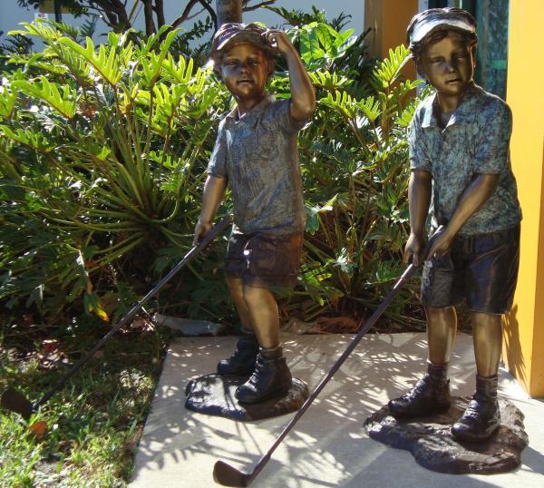Outdoor Bronze Children Playing Golf Garden Statues