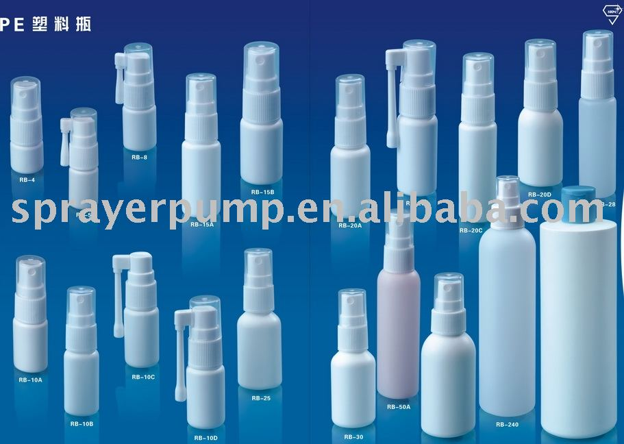 HDPE spray bottles with various volumes