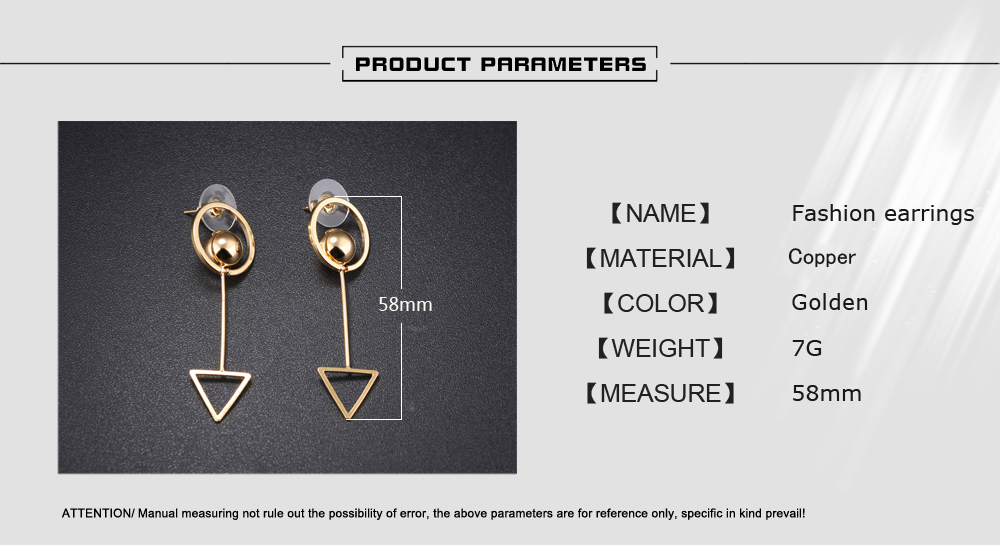 Wholesale Copper Jewelry Women Gold Plated Triangle Drop Earring Supplies