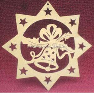 2017 hot selling christmas ornament hanging wooden christmas snowflake