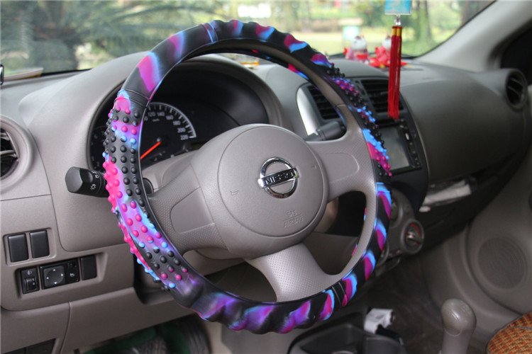 Pink King Company Soft Silicone Car Steering Wheel Cover Non-Slip Car Decoration Steering Wheel Cover