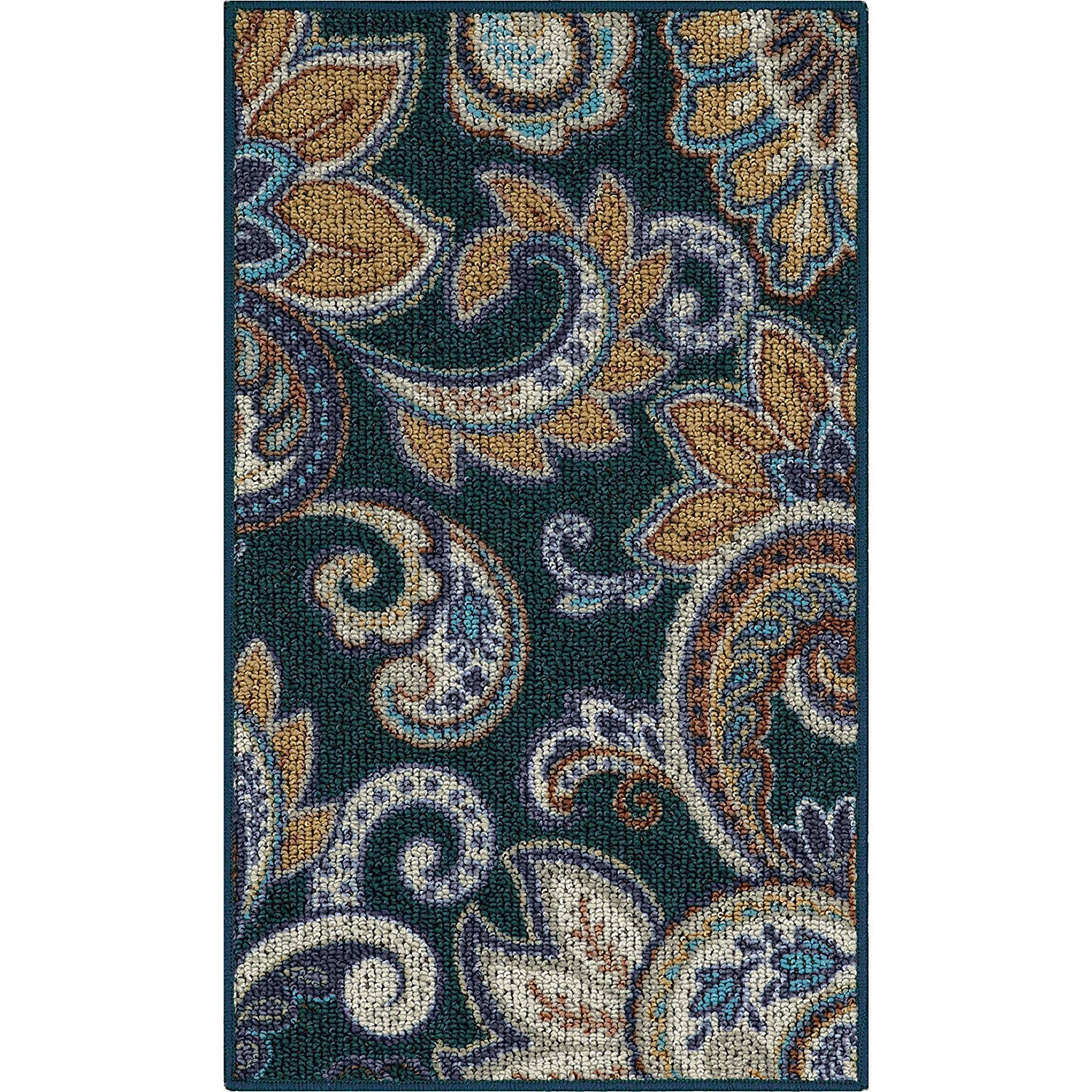 """D&H 1'8"""" X 5' Multi Color Paisley Berber Scroll Design Runner Rug, Indoor Floral Geometric Cottage Hallway Entryway Rectangle Country Carpet, Large Flooring Mat Teal Blue Brown, Nylon Olefin"""