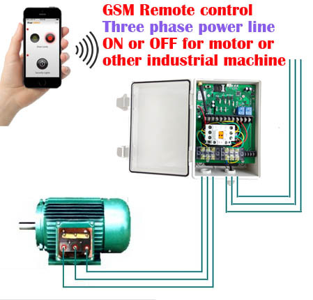 Gsm three phase power supply controller for motor water for 3 phase motor switch