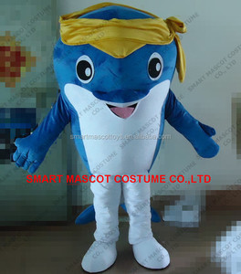 100% real shown blue dolphin mascot costume hand made soft plush life size adult unisex dolphin mascot costume