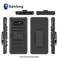360 Full Protective Tuff Armor Cover Phone Case for Samsung Galaxy Note 8 with Holster Swivel Belt Clip and Kickstand