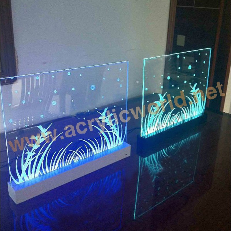 Acrylic Edge Lit Table Top Sign custom Etched