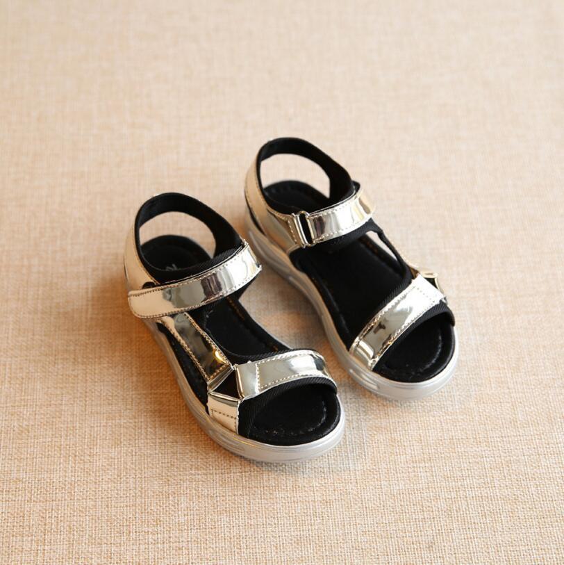 2016 Summer Stylist Designed For Children Sandals Gold Silver Purple Girls Sandals Kids Shoes