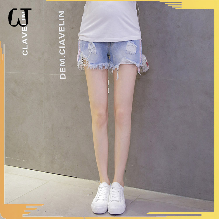 J969# jeans women 2017 blue washed jeans maternity shorts maternity clothes Stocks