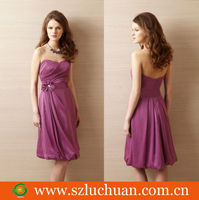 Simple graceful tea length bridesmaid dresses purple