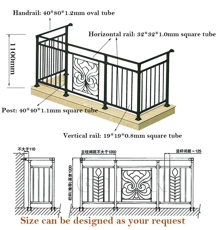 golon fabriek koop outdoor smeedijzeren trapleuning balkon