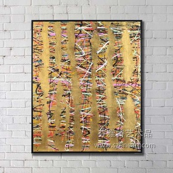 Modern Abstract Gold Foil Canvas Painting - Buy Abstract Gold Foil ...