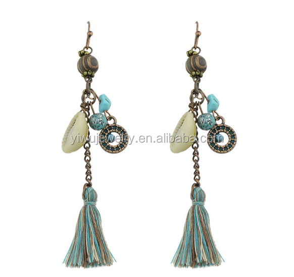 E53-073 ladies sexy burnish copper handmade tassel see shell long dangling earrings