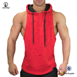 OEM new design gym mens stringer singlet with hood mens cotton polyester blend bodybuilding custom stringer tank top