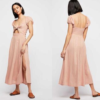 fe2beac71b1a33 2018 Summer Women Dresses Pink Linen Clothing Women - Buy ...