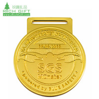 Wholesale cheap custom made metal zinc alloy die cut gold plated sports swimming medal for event
