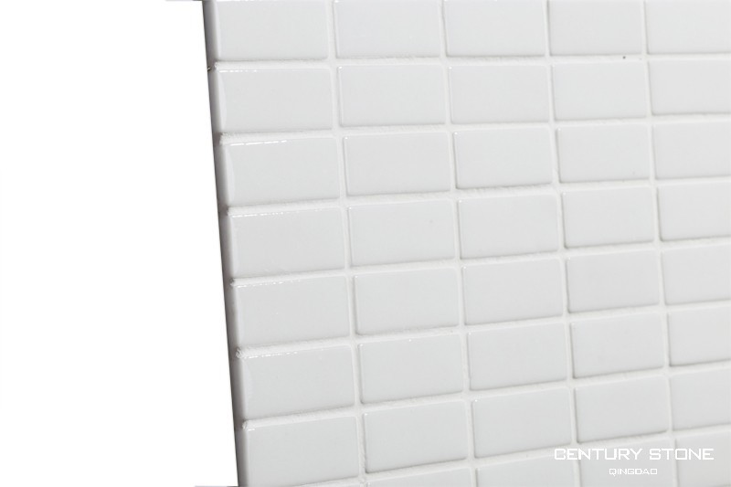 Blanc brillant full body verre brique mosa que salle de - Mosaique salle de bain blanche ...