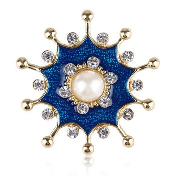 LH-32 Vintage Clothes Jewelry Alloy Crystal Enamel Flower Brooch
