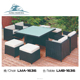 Restaurant 10 /8Seater French Outdoor/home Furniture Wicker Dining Tables And Chairs Garden Plastic Rattan Furniture