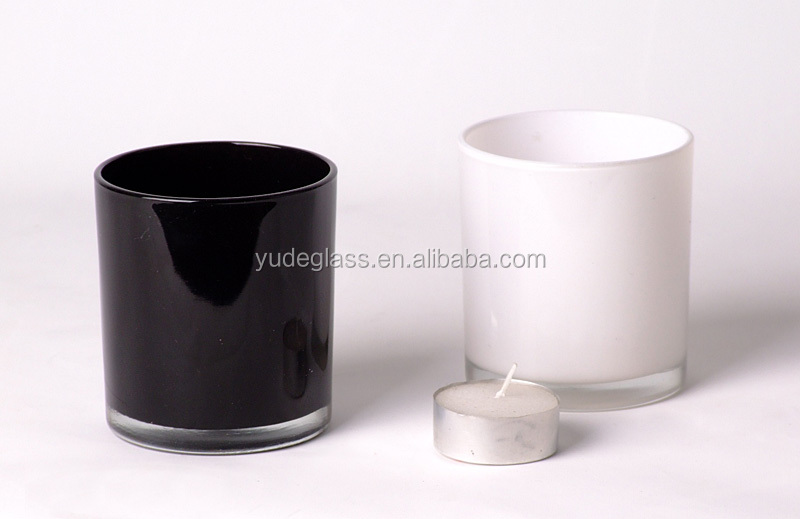 hot sale black glass candle jar with scented soy candle glass glass candle holders wholesale