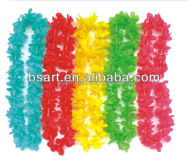Colorful hawaiian lei silk flower lei party decoration artificial flower wreath flower lei