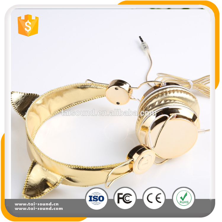 2017 New design Hot-sell gold cat ears with comfortable wired music headphones