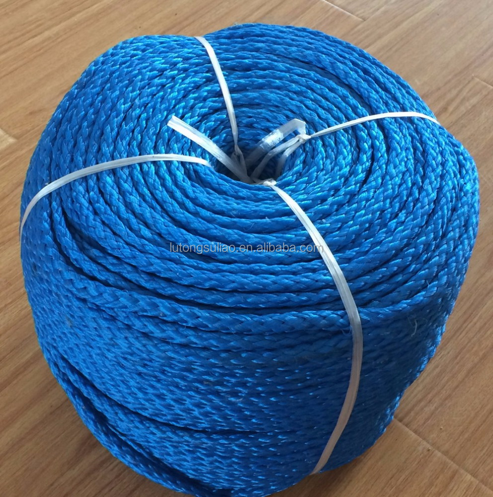 blue color 8mm PE 8 strands braided rope, hollow braided rope