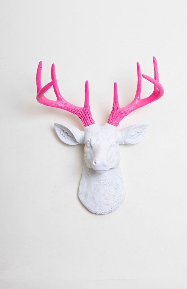 Get Quotations Mini White Faux Deer Head Wall Mount With Pink Antlers The Boris By