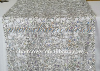 High Quality 2014 Fancy Design Wedding Decorative Sequin Beaded Table Runners Round  Tables