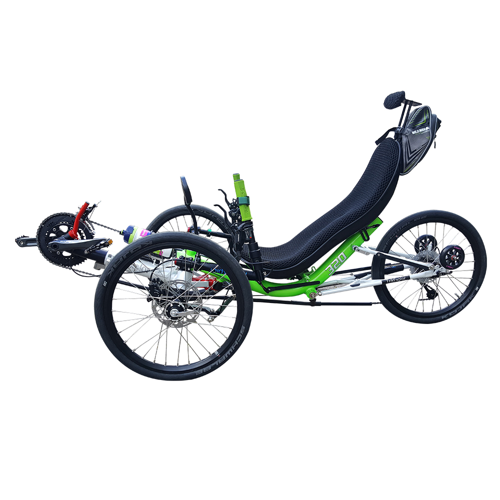 Free Shipping Old People Full Folding 20 speed 3 Wheel Tadpole Recumbent Trike <strong>Cycle</strong> Lay Down Bike Sale