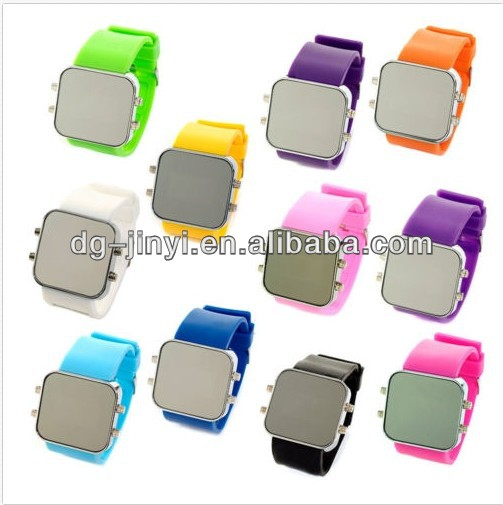 Led Mirror Watch Unisex Fashionable Gel Silicone Sport Time Date Jelly Classic