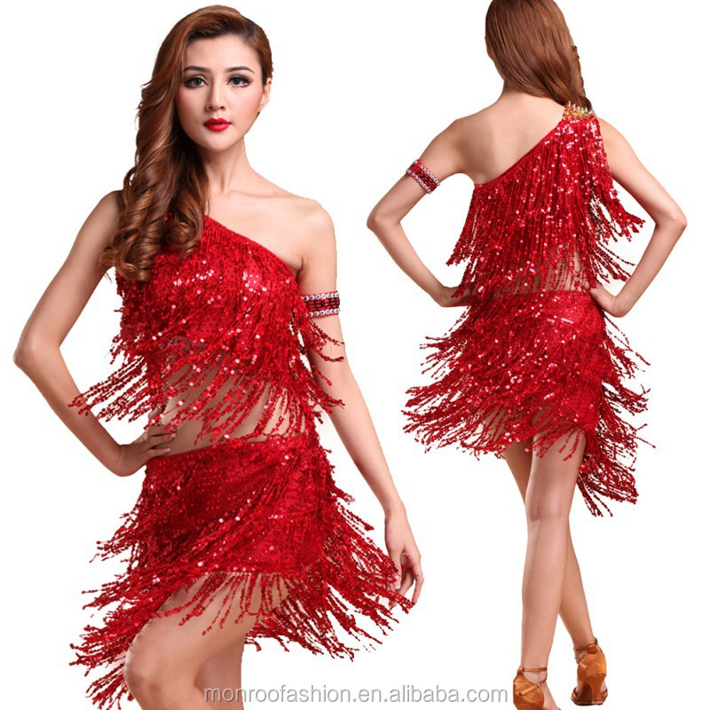 monroo 2017 Fashion Lady Dance Dress Sequins Dancing Costume Tango Latin Salsa Top Dresses