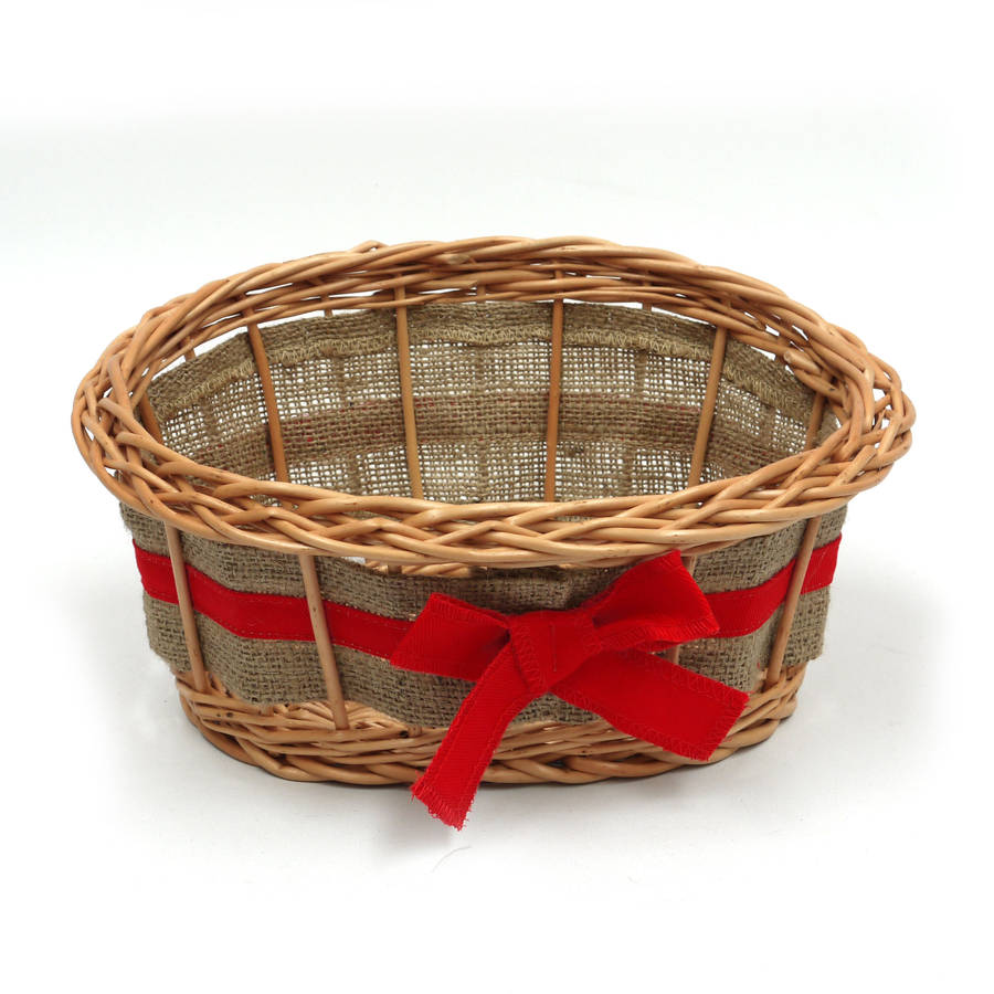 small Empty christmas Wicker Gift Basket with Ribbon